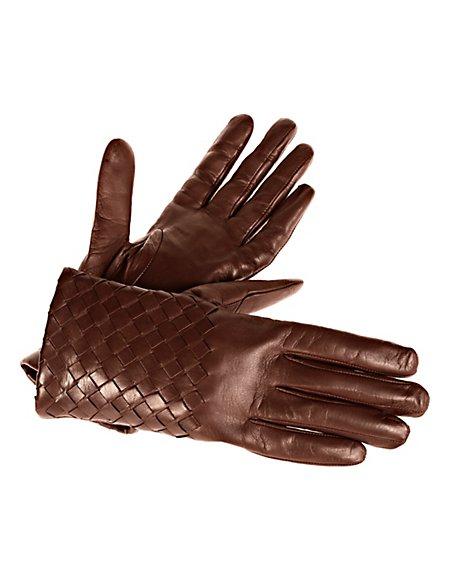 Leder-Handschuhe mit Kaschmirfutter Damen dunkelbraun
