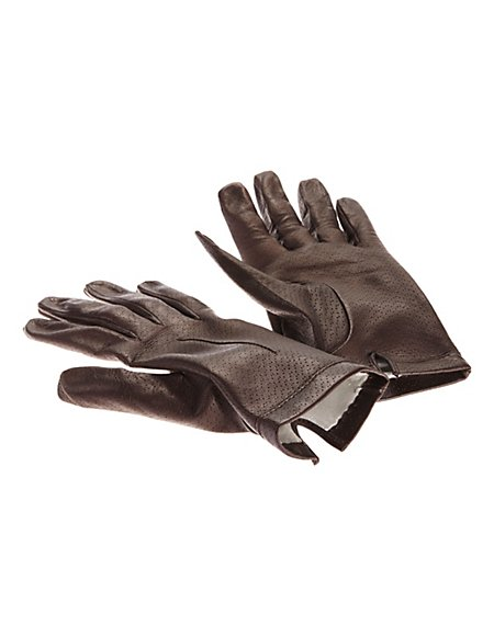 MADELEINE Leder-Handschuhe mit Seidenfutter Damen dunkelbraun
