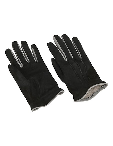 MADELEINE Handschuhe aus Velours-Leder mit Wollfutter Damen schwarz/grau / grau