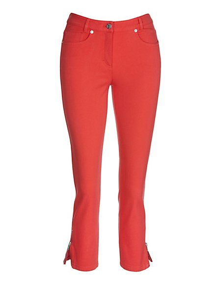 MADELEINE  7/8-M-jeans Dames tomaat / oranje