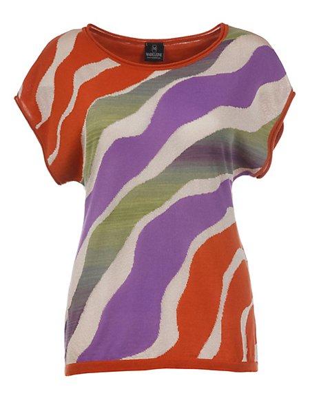 MADELEINE  Trui Dames koperkleurig/multi colour / donkerbruin