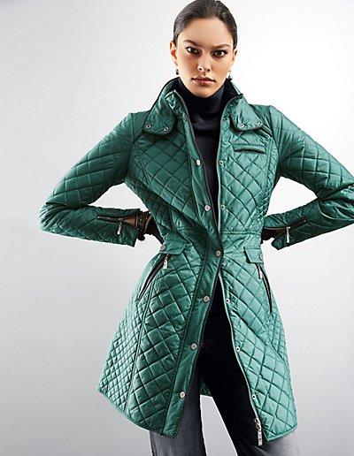 MADELEINE  Redingote matelassée femme vert