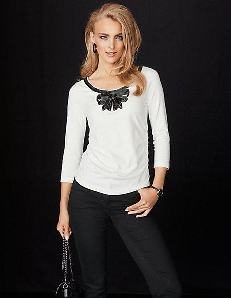 MADELEINE  Shirt Dames wolwit / wit