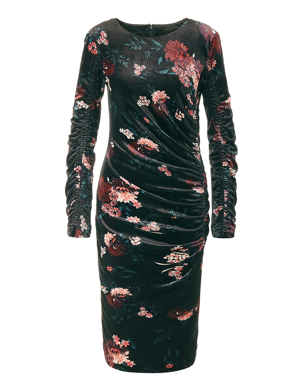f6c37ef02679a3 ... Feminines Samtkleid mit Allover-Print. Zurück zur Übersicht. Previous  Slide