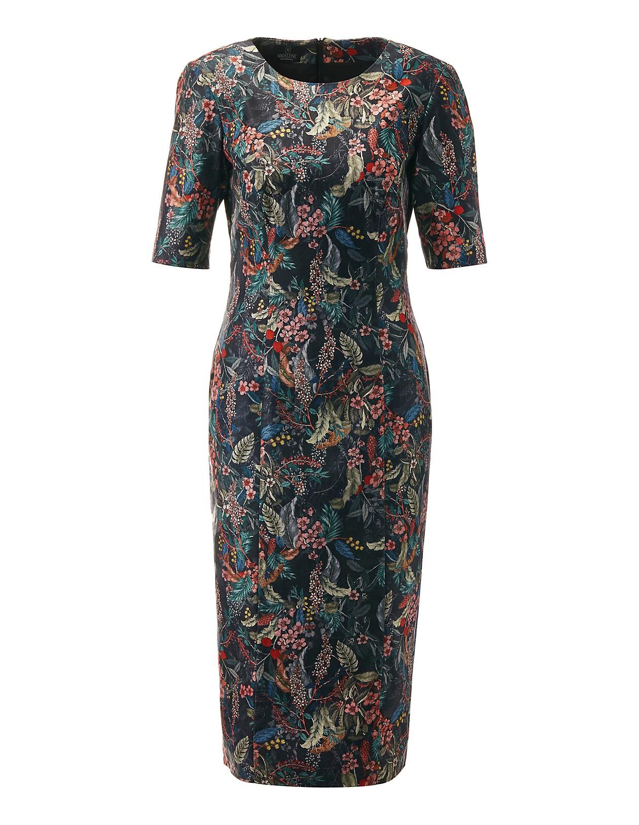 6ffdcd0d4ea4f9 Etui-Kleid mit Floral-Dessin, schwarz/multicolor, blau, rot, schwarz |  MADELEINE Mode Österreich
