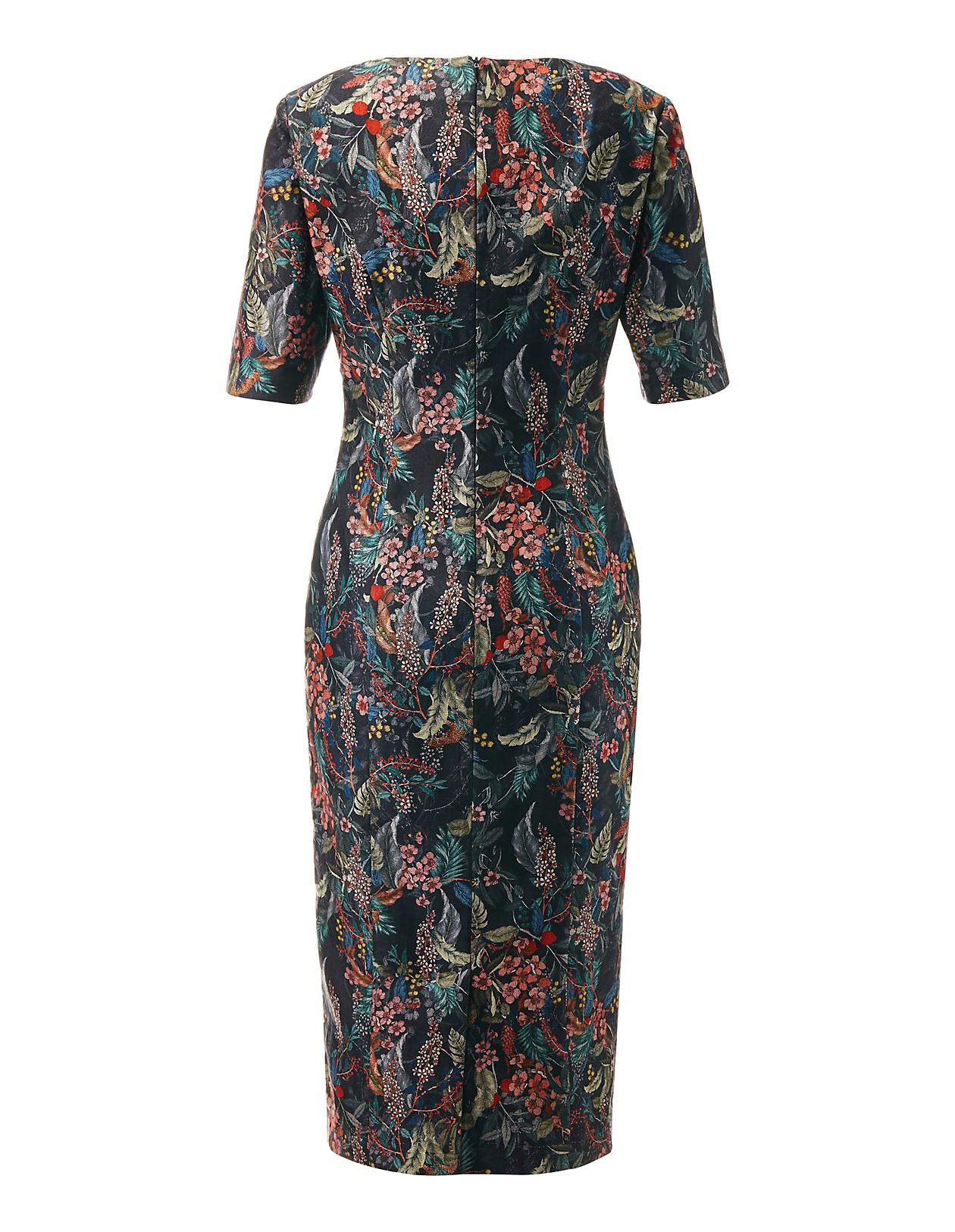 e4ec4d75c583e5 Etui-Kleid mit Floral-Dessin, schwarz/multicolor, blau, rot, schwarz ...