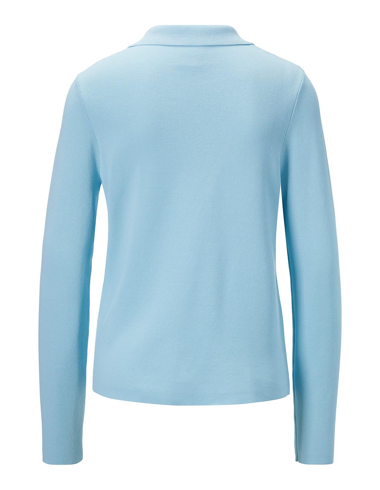 damen pullover blau mit augesetzten taschen