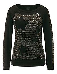 l ssiges sweatshirt mit glitzer dekoration schwarz. Black Bedroom Furniture Sets. Home Design Ideas