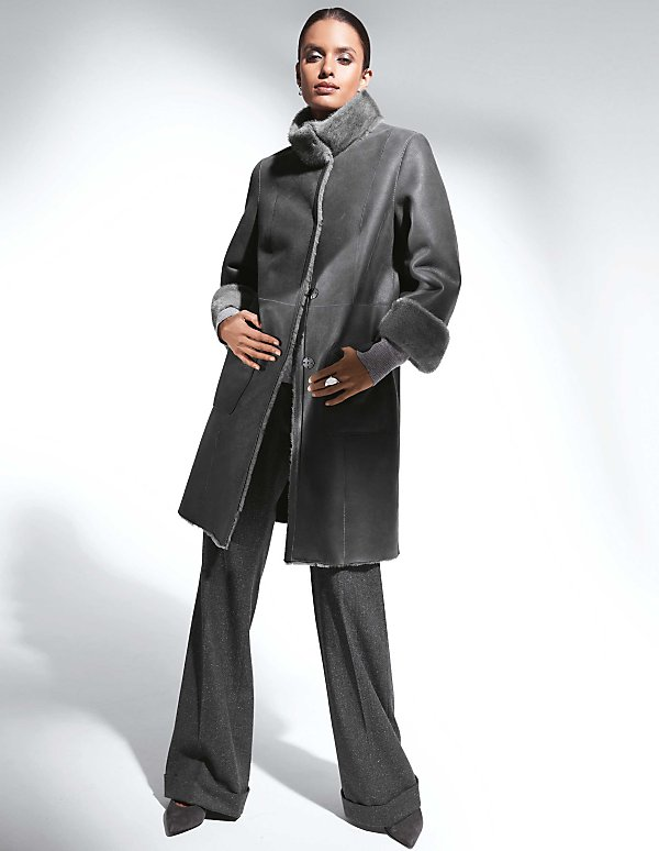 Veste redingote en cuir femme