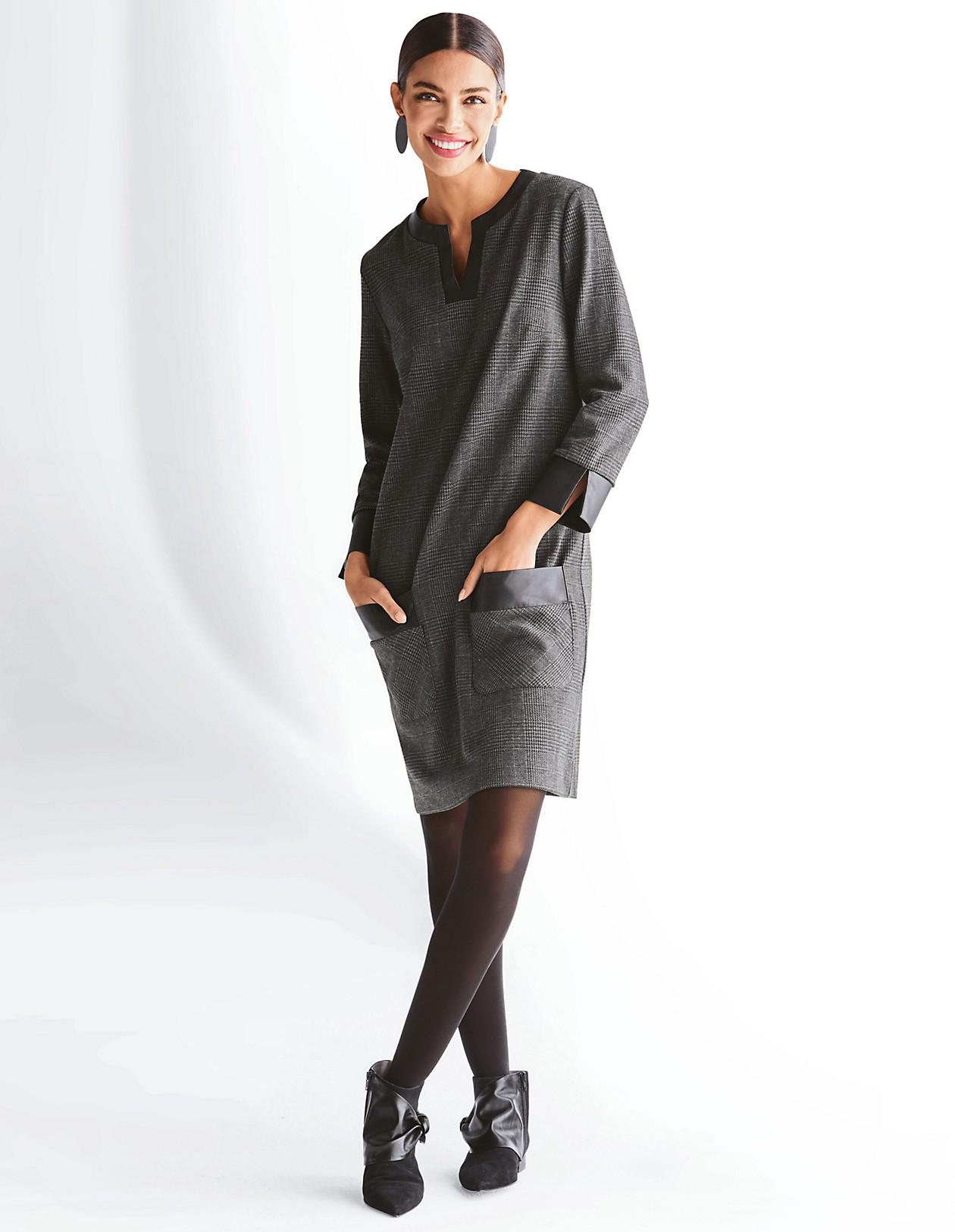 kleid in h-linie, schwarz/dunkelgrau, grau, schwarz